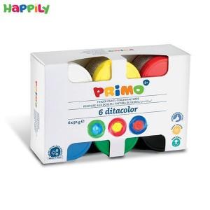 رنگ انگشتی Primo بسته بندی مقوایی 6 رنگ 50 گرمی 226TD50S
