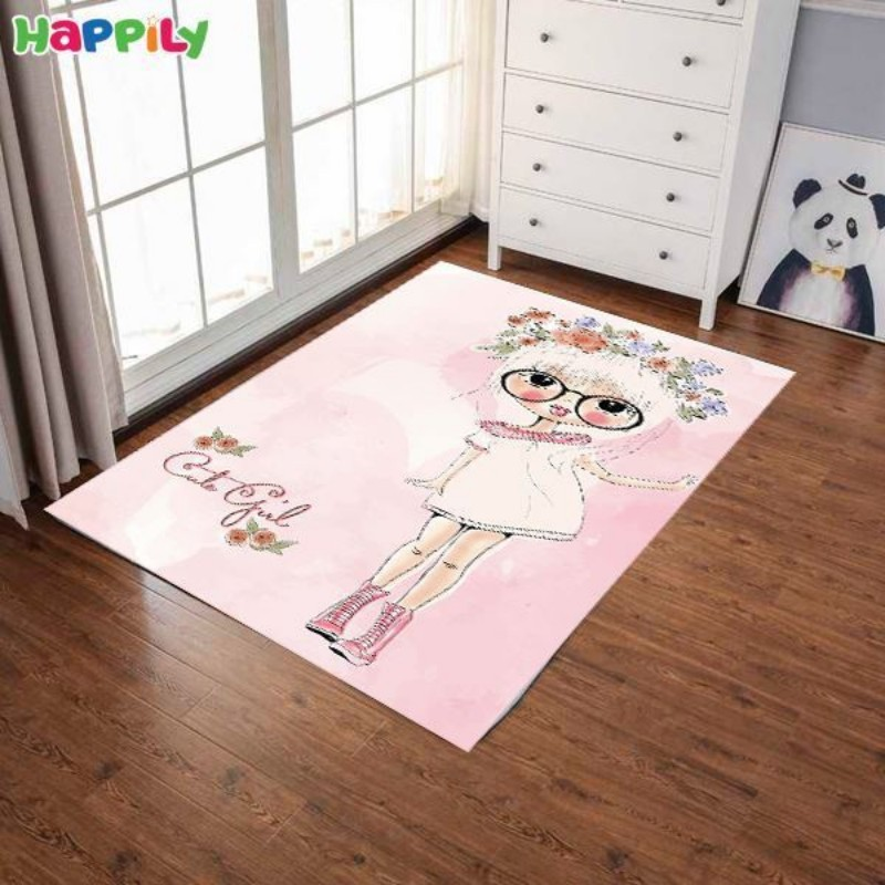فرش اتاق کودک طرح دختر شاد 52319