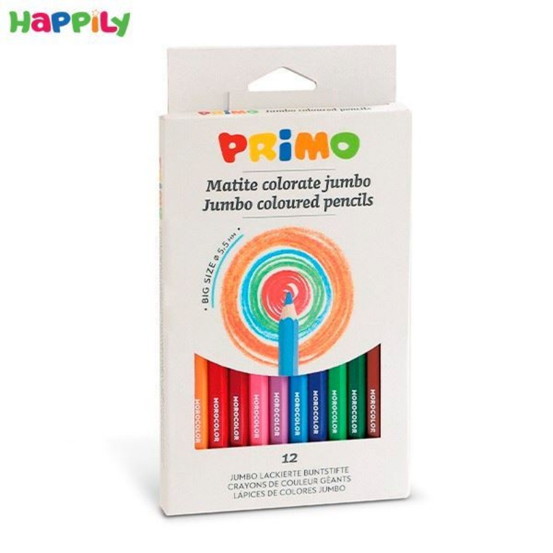 مداد رنگی Primo شش گوش 12 رنگ جامبو 510MAXI12E