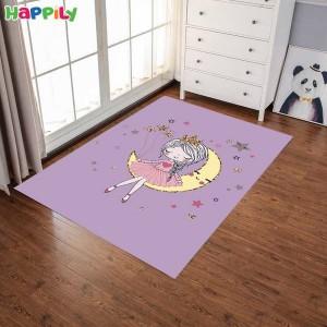فرش اتاق کودک طرح girl دختر روی ماه  52404