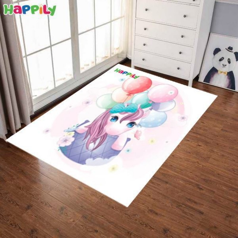 فرش اتاق کودک طرح اسب پونی با بالون 52421